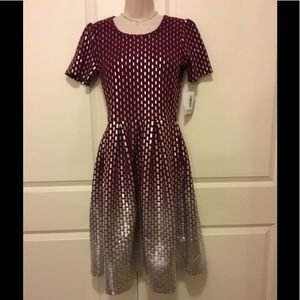 LuLaRoe Elegant Amelia Dress Dark Red / Silver Lg